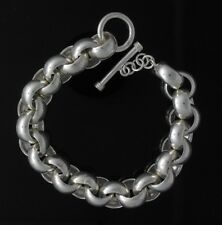 13.5mm Chunky Circle Link Sterling Silver Men's Chain Bracelet Heavy Thick Biker
