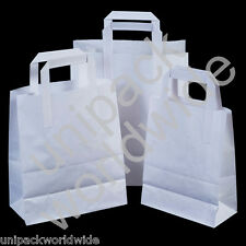 White Take Away Party Paper Carrier Gift Bags - 18 x 22 x 8cm (Choose Quantity)