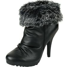 WOMENS NEW BLACK  WINTER ANKLE BOOTIES HIGH HEELS FASHION BOOTS LADIES SHOES