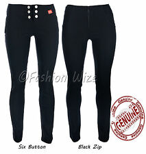 Ladies Smart Work Black Grey Navy Stretch Hipster Trousers Sizes 4-16 Miss Chief