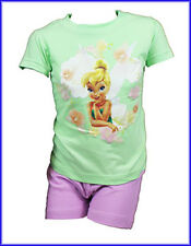 NEW GIRLS KIDS DISNEY TINKERBELL SUMMER PYJAMA SET IN LIME AND LILAC