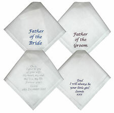 Wedding Handkerchiefs - Bride to Dad, Groom to Dad, Bride to Groom