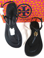 TORY BURCH EMMY BLACK TUMBLE LEATHER SANDALS 10.5