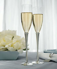Personalized Wedding Reception Silver Plated Ring Of Crystals Toasting Flutes