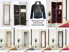 Jewelry Cabinet Two Mirrors Door Hanging & Wall Mount Jewelry Organizer Armoire
