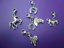 1 ANTIQUE TIBETAN SILVER HORSE, PONY, HORSESHOE CLIP ON CHARMS FOR BRACELETS