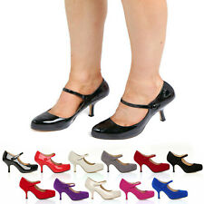 WOMENS LADIES NEW STRAP MID HEEL CASUAL SMART WORK PUMP COURT SHOES SIZE 3-8 213