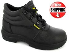 NEW BLACK CHUKKA SAFETY STEEL TOE WORK SHOE LACE BOOT TRAINER MIDSOLE UK 4-12