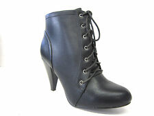 LADIES SPOT ON LACE UP ANKLE BOOT F5482 BLACK