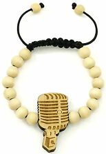 Microphone Bracelet New Good Wood Style Pull Adjustable Macrame 10mm Wood Beads