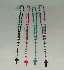 """36"""" COLOURED ROSARY BEADS WITH WOODEN CROSS NEW SEALED VARIOUS COLOURS"""