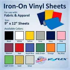 """IRON-ON Heat Transfer Vinyl For Fabric: 9"""" x 12"""" Sheets for ALL Cutting Machines"""
