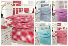 Gingham Check Fitted Sheet. 180 Thread Count Percale. Super Soft Bed Sheets