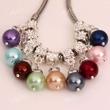 11 Colors Dangle Faux Mother Of Pearl Round Ball Big Hole European Charm Beads