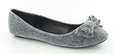*****SALE****Ladies silver Glitter fabric bow front ballerina style shoes.F8858.