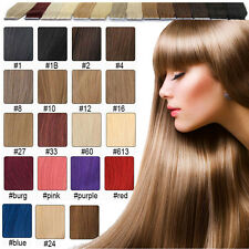 "BEST Remy Human Hair Extensions Seamless Tape In Skin Weft 16""18""20""22""24""26""20P"