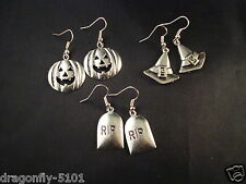Large Antique Silver HALLOWEEN Earrings-RIP-PUMPKIN-WITCHES HAT -Elizabeth*SRAJD