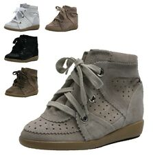 Womens Lace Up High Top Sneakers Hidden Heels Women Suede Shoes Wedge B301