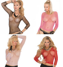 Long Sleeve Fence Net Top Cami Fishnet Clubwear Costume Lingerie 1480