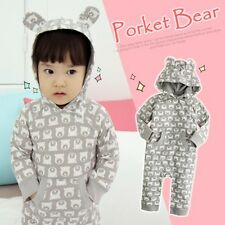 Made in Korea Pocket Bear Gray Boy Girl Unisex Infant Cotton Clothing / OA-1137