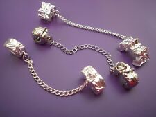 1 Clip stopper safety chain silver plated fit European charms bracelet clip on