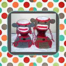 Crochet  baby sock monkey hat and diaper cover