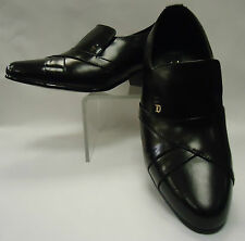 Mens Black Leather Cuban Heel Slip On Loafers Shoes D'Italo S 6263
