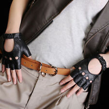 Women Leather PUNK performance Fingerless  driving backless gloves for art nail