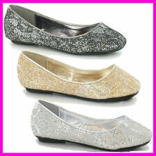 WHOLESALE Ladies and Girls Glitter Ballerina Pumps   Sizes 3-8 or 10-2 x14prs