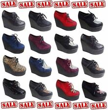 NEW WOMEN'S/LADIES CASUAL HIGH PLATFORM BROTHEL GOTH PUNK WEDGE LACE UPS CREEPER
