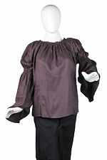 Casual Caribbean Pirate Renaissance Wench Medieval Costume Girl Brown Blouse Top