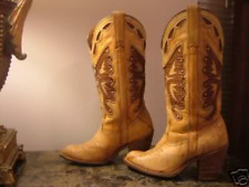 VINTAGE TAN MISS CAPEZIO BUTTERFLY INLAY COWGIRL WESTERN COWBOY BOOTS 6 7 8 9 10