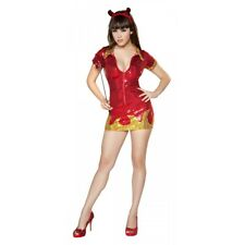 Hot Devil Babe Sequin Mini Dress Costume Halloween Fancy Dress