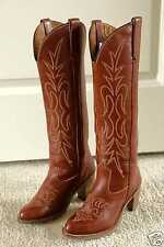 VINTAGE MISS CAPEZIO TALL BRICK RED WOMENS LEATHER COWBOY BOOTS 6 M