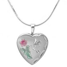 "925 Sterling Silver Heart Locket Pendant On Snake Chain Necklace 16"", 18"", 20"""