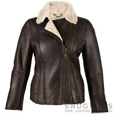 LUXURY LADIES SHEEPSKIN COAT FLYING JACKET AVIATOR FINISH BROWN (CELENCHOC)