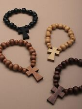 Wooden Bead & Cross Rosary Bracelet Icon Religious Men Women Fashion Accessory
