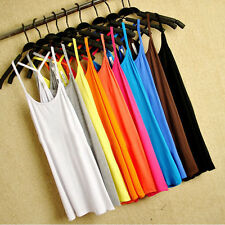 Ladies Y-shaped Cotton-blend Sapghetti Sleeveless Top Camisole Sling Vest