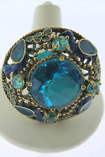 Sajen Bronze by Marianna and Richard Jacobs Peacock Blue Quartz Ring