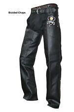unisex leather mens ladies motorcycle biker chaps new all sizes available