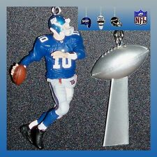 NFL NEW YORK GIANTS MANNING/BURRESS FIGURE & TROPHY/SUPER BOWL HELMET FAN PULLS