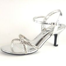 Women New Silver or Black Heels Wedding Evening Party Bridal Ladies Girls Shoes