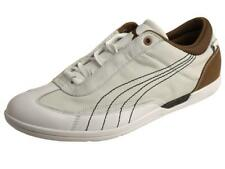 PUMA Driving Power Lo Leather Motorsport Trainers/Shoes/Sneakers White/Brown