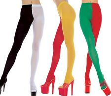 Black Purple Red White Green 2 Tone Jester Tights Sexy Designer Lingerie P748