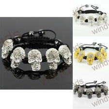 Hot Clear Rhinestone Skull Beads Braiding Adjustable Shamballa Bracelet Bangle
