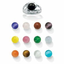 .925 Sterling Silver 14-Piece Interchangeable Multi-Stone Ring Set