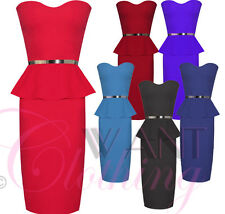 Ladies Womens Boobtube Midi Belted Peplum Frill Dress Bodycon Long Pencil Skirt