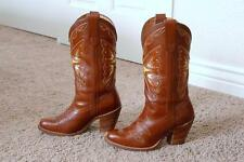 VINTAGE MISS CAPEZIO LEATHER BROWN BUTTERFLY INLAY WOMEN COWBOY BOOTS 6 7 8 9 10