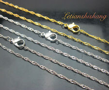 "Lots of 12pcs Silver Grey/Gold/Silver Plated Wave chain Necklace,15"" #C205"