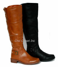 NEW Tall Riding Knee High Equestrian Fux Leather Boots Women Flat Black Shoes